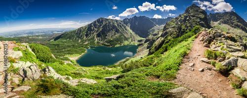 Panorama of Czarny Staw Gasienicowy in Tatra Mountains, Poland, Europe