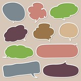Set of Colorful Hand Drawn Speech and Thought Bubbles