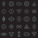 Set geometric signs, labels, and frames. Line design elements, vector illustration - 148797662