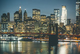 Brooklyn Bridge and Manhattan by Night - New York