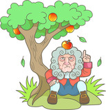 Cartoon Newton sits under the apple tree
