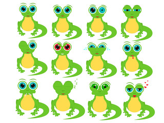 Cartoon lizard in different social emotions.