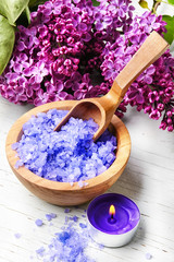 Spa salt with aroma of lilac