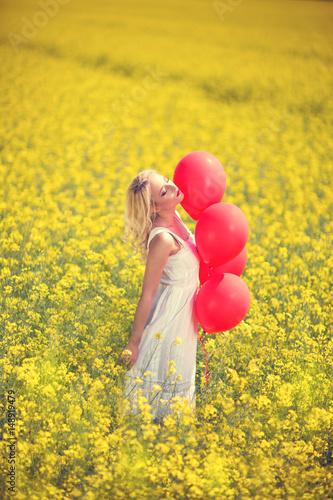 Poster Enjoying in meadow field