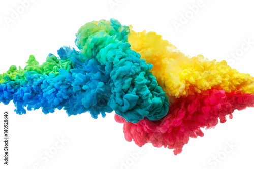 Colorful acrylic ink in water isolated on white. Abstract background. Color explosion