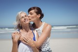 Young woman kissing her mother at beach