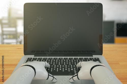 Robot using laptop