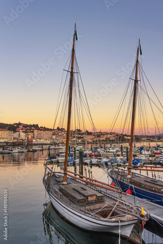 Moored boats on the marina dock Poster