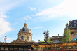 View on Institute of France building, blue sky with white clouds, paris city, france