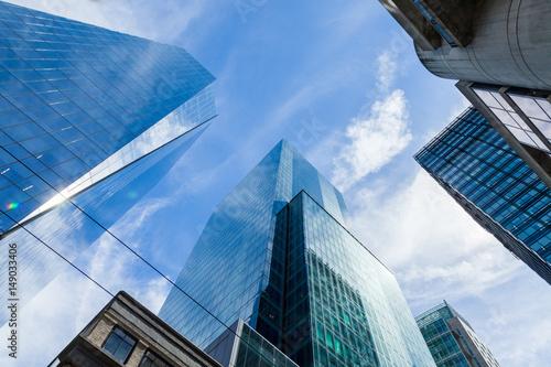 Fototapeta Modern Building Glass Architecture Clouds Wall Detail