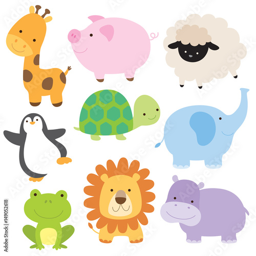 Fototapeta Vector illustration of cute baby animal including giraffe, pig, turtle, sheep, penguin, elephant, frog, lion and hippo.