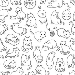 Cat Outline Seamless Vector Pattern
