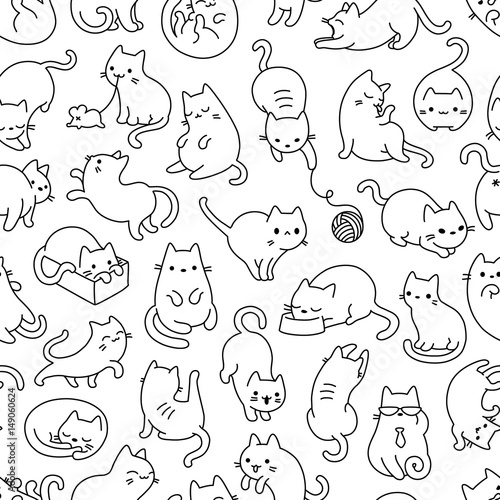 Cat Outline Seamless Vector Pattern - 149060624