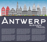 Antwerp Skyline with Gray Buildings, Blue Sky and Copy Space.