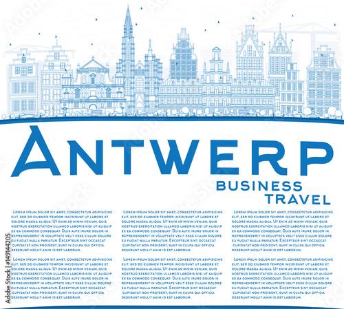 Keuken foto achterwand Antwerpen Outline Antwerp Skyline with Blue Buildings and Copy Space.
