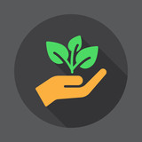 Plant, sprout in a hand flat icon. Round colorful button, circular vector sign with long shadow effect. Flat style design