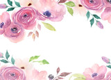 Floral card. Watercolor template for wedding invitations, posters, valentines day, easter, birthday - 149184618