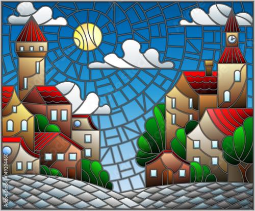 ilustracja-w-stylu-witrazu-krajobraz-miejski-dachy-i-drzewa-na-dzien-niebo-i-slonce