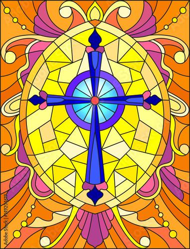 ilustracja-w-stylu-witrazu-z-jasnym-fioletowym-krzyzem-na-zoltym-tle