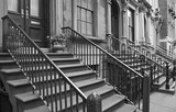 Black and white closeup of a residential street of New York, USA