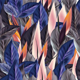 Beautiful tropical pattern with blue and orange leafs