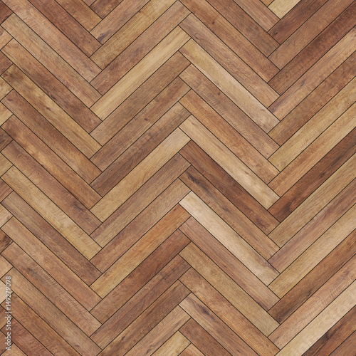 Seamless wood parquet texture (herringbone brown) - 149279098