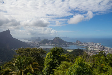Landscape or Rio de Janeiro with the corcovado mountain, the forest and the city, Brazil