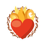 virgin mary heart with flames vector illustration design - 149298817