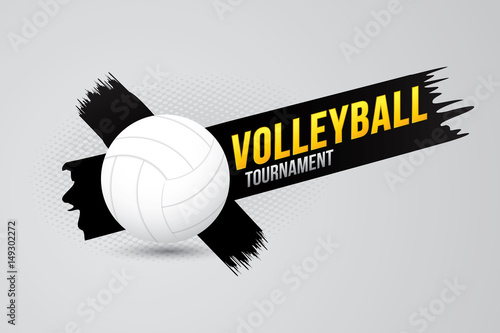Volleyball tournament badge design with ball.