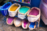 Pigments for paint in Chefchaouen, Morocco