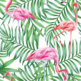 Bird flamingo on a background of tropical leaves seamless patter