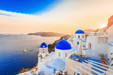 Beautiful Santorini sunset scenery, traditional white architecture, Santorini island, Oia village, Greece, Europe. Santorini is famous and popular summer vacation romantic resort. - 149387044