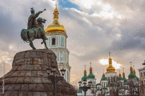 Poster Bohdan Khmelnytsky Monument, Saint Sophia Cathedral, view from Sophia square