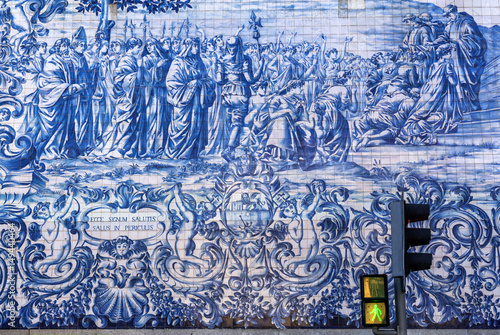 Azulejos tiles historical scene on a side facade of Carmo Church in Porto, Portu Poster