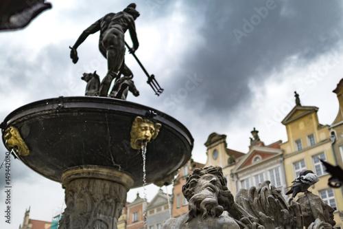 fototapeta na ścianę Old Town historic fountain in Gdansk