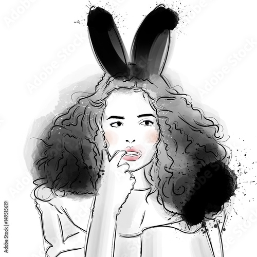 In de dag Art Studio Fashion Easter Bunny Girl in Blush Pink Cheek