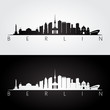 Berlin skyline and landmarks silhouette, black and white design.