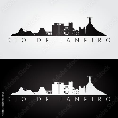 Rio de Janeiro skyline and landmarks silhouette, black and white design.