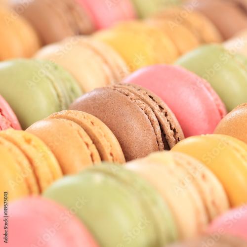 Macarons Macaroons bunte Kekse Nachtisch Dessert aus Frankreich quadratisch Poster
