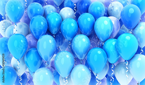 Many balloons blue background