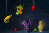 vintage style food still life with various fruit