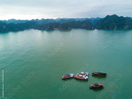 Halong Bay boats drone vietnam