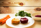 Fried carrot and beetroot cutlets. The concept of a healthy diet. Tasty and healthy food. Vegetarian cuisine. - 149688481
