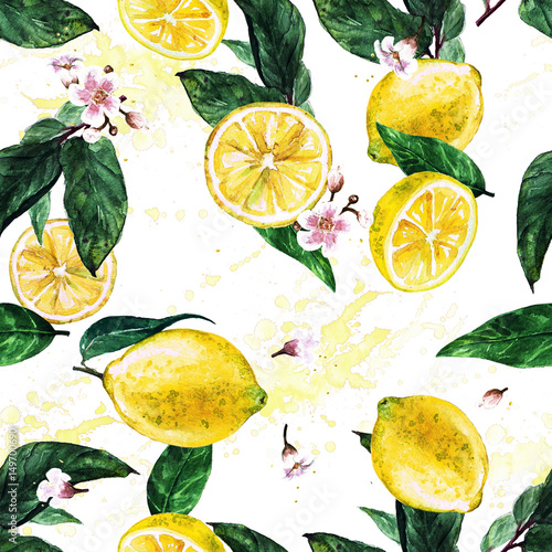 Lemons. Watercolor seamless pattern.