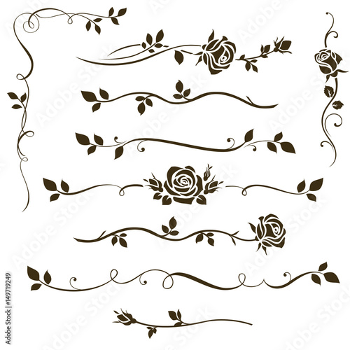 Vector set of floral dividers, calligraphic elements, decorative rose silhouettes for wedding invitation design and page decor - 149719249