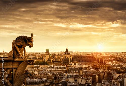 Gargoyle over Paris at sunset, France Poster