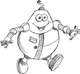 Doodle Robot Vector Drawing