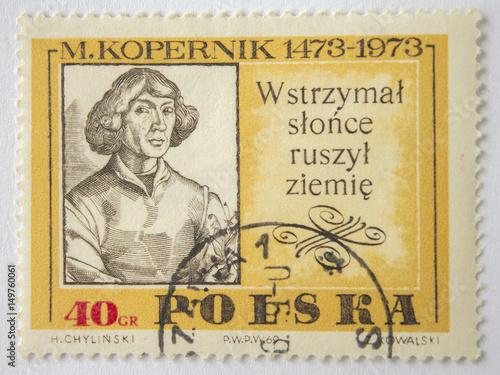Poster Stamp with Kopernik portrait in vintage style.