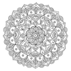 hand drawn black and white mandala