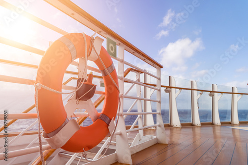 Cruise ship upper deck in sunny day Poster